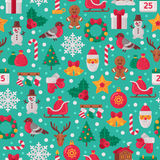 Seamless Pattern with Christmas Flat Icons. Vector Illustration. Christmas Tree and Snowflakes, Santa Claus, Candy Cane, Gifts for Winter Holidays Design vector illustration