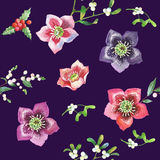 Seamless Pattern with Christmas Flowers Stock Images