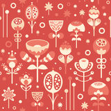 Seamless pattern with Christmas flowers on red background. Stock Images