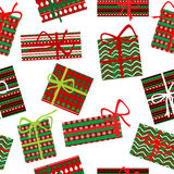 Seamless pattern with Christmas gift boxes. On white background stock illustration