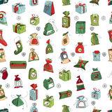 Seamless pattern with Christmas gift boxes on Royalty Free Stock Photography