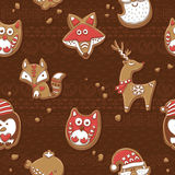 Seamless pattern with Christmas gingerbread cookies Stock Images