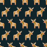 Seamless pattern with Christmas gingerbread cookies - xmas deer. Stock Photo