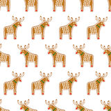 Seamless pattern with Christmas gingerbread cookies - Xmas deer. Cute winter holiday vector Xmas design on white background Royalty Free Stock Images