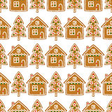 Seamless pattern with Christmas gingerbread cookies - xmas tree and cute house. Winter holiday vector design illustration on white background Stock Photo