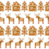 Seamless pattern with Christmas gingerbread cookies - xmas tree, deer, house. Royalty Free Stock Photography