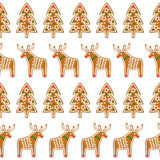 Seamless pattern with Christmas gingerbread cookies - xmas tree and deer. Winter holiday vector design illustration on white background Stock Photos