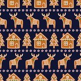Seamless pattern with Christmas gingerbread cookies - xmas tree, star, deer, house. Royalty Free Stock Image