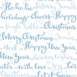 Seamless pattern of Christmas greetings and wishes calligraphy b Royalty Free Stock Image