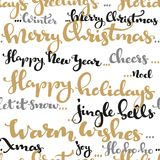 Seamless pattern of Christmas greetings and wishes calligraphy Royalty Free Stock Photos