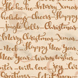Seamless pattern of Christmas greetings and wishes calligraphy Stock Photography