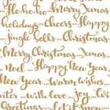 Seamless pattern of Christmas greetings and wishes calligraphy Royalty Free Stock Image