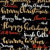 Seamless pattern of Christmas greetings and wishes calligraphy Stock Photos