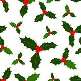Seamless pattern. Christmas holly berries on white background. Vector illustration. Hand drawn elements. Seamless Christmas holly berries pattern. Vector Stock Images