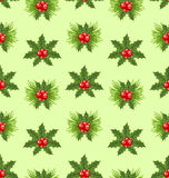 Seamless Pattern Christmas Holly Berry. Background - vector Stock Photos