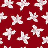 Seamless Pattern with Christmas Holly Berry. Christmas Decorations on a Red Background, Vector Illustration Royalty Free Stock Image