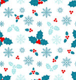 Seamless Pattern with Christmas Holly Berry. Illustration Seamless Pattern with Christmas Holly Berry and Snowflakes - vector Royalty Free Stock Photography