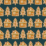 Seamless pattern with Christmas homemade gingerbread cookies - Xmas tree and cute house. Stock Photo