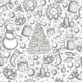 Seamless pattern of Christmas icons. Monochrome sketch style Christmas illustration for decoration. Vector Stock Photography