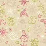 Seamless pattern of Christmas items. This is file of EPS10 format Royalty Free Stock Images