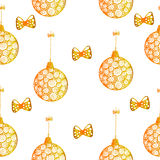 Seamless pattern with Christmas or New Year balls hanging on rib Stock Images