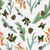 A seamless pattern for Christmas and New Year. Beautiful pine branches with cones, holly and rowan branch royalty free illustration