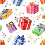Seamless pattern with Christmas and New Year gifts. watercolor. Royalty Free Stock Images