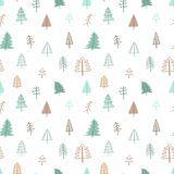 Seamless pattern for Christmas and New Year. Hand-drawn vector illustration of trees in beige and green tones. Seamless pattern for Christmas and New Year. Hand stock illustration