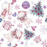 Seamless pattern with Christmas and New Year symbolics. Watercolor illustration. stock illustration