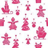 Seamless pattern with christmas, new year symbols. Seamless pattern with christmas and new year symbols. Christmas trees origami, gingerbread man, bells, balls Vector Illustration