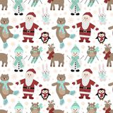 Seamless pattern for Christmas and New Year. Vector hand-drawn illustration of Santa, owls on skis, a bear on skates, a hare, a pe. Nguin, a snowman and a royalty free stock image