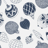 Seamless pattern with  Christmas ornaments Stock Photos