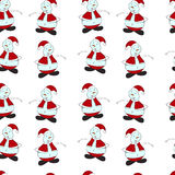 Seamless pattern of Christmas painted snowman on a. White background. Festive new year's texture stock illustration
