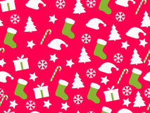 Seamless pattern. Christmas pattern with gift boxes, Christmas t. Rees and stars. Vector illustration Stock Photography