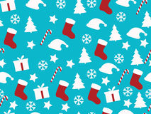 Seamless pattern. Christmas pattern with gift boxes, Christmas trees and stars. Royalty Free Stock Image