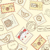 Seamless pattern with christmas post stamps. On yellow background Royalty Free Stock Images
