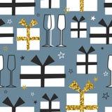 Seamless pattern, christmas presents, glasses for champagne, stars vector illustration