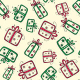 Seamless pattern with christmas red and green gift Royalty Free Stock Image
