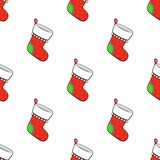 Seamless pattern with Christmas red socks for gifts with contour. Seamless vector illustration. Pattern with Christmas red socks for gifts on white background Stock Photo