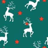 Seamless pattern for Christmas with reindeer on blue Stock Photo