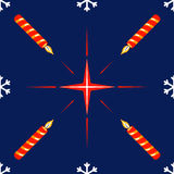 Seamless pattern with christmas star and candle Royalty Free Stock Image