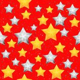 Seamless pattern with christmas stars. Bright red winter background. Vector illustration Stock Photo