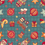 Seamless pattern. Christmas style. Christmas hand drawn design elements. Best for greeting cards, invitations Stock Photo