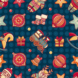 Seamless pattern. Christmas style. Christmas hand drawn design elements. Royalty Free Stock Photo