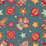Seamless pattern. Christmas style. Reindeer. Santa Claus. Angel. Star. Deer. Christmas hand drawn design elements. Best for greeting cards, invitations Royalty Free Stock Photography