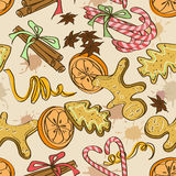 Seamless pattern of christmas sweets Stock Photos