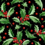 Seamless Pattern with Christmas Symbol - Holly Leaves on Black Background. Image for your design projects Royalty Free Stock Images