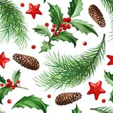 Seamless Pattern with Christmas Symbol - Holly Leaves, Christmas Tree with Cones and Stars on White Background. Image for your design projects Stock Photos