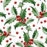Seamless Pattern with Christmas Symbol - Holly Leaves on White Background. Image for your design projects Stock Photo