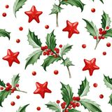 Seamless Pattern with Christmas Symbol - Holly Leaves on White Background. Image for your design projects Royalty Free Stock Photo